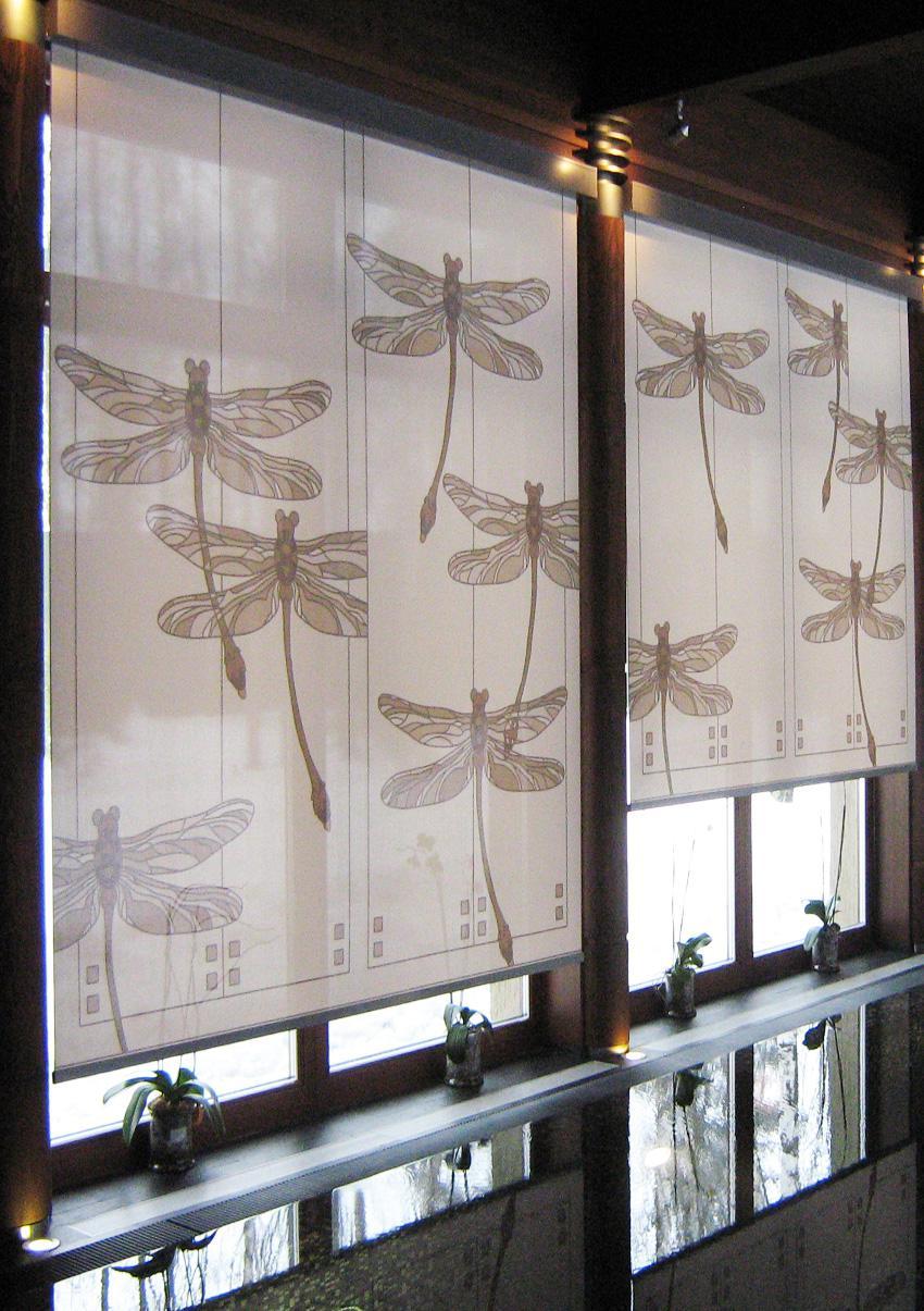 Рулонные шторы с фотопечатью срекозы